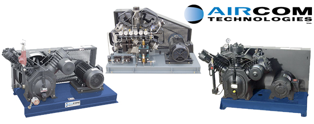 Aircom's piston compressors for high pressure applications - 15 HP to 20 HP is design, manufactured & distributed by Aircom Technologies, Montreal, Quebec