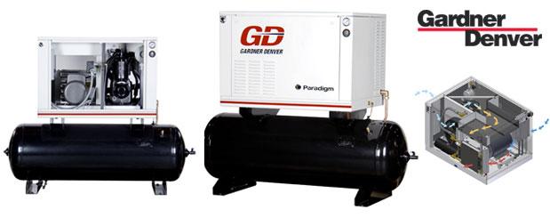 Compresseurs d'air à piston avec cabinet insonorisé inclus - 5 HP à 15 HP – Paradigm de Gardner Denver distribué par Aircom Technologies, Montréal, Québec