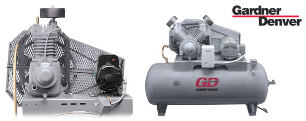 Compresseurs d'air à pistons - 5 HP à 15 HP – Reed Valve de Gardner Denver distribué par Aircom Technologies, Montréal, Québec