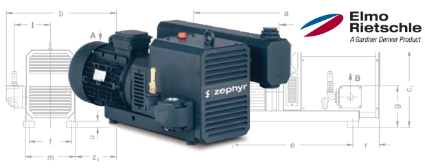 Compresseurs d'air à crochets - Elmo Rietschle Série-C (Zephyr) - pour pressions jusqu'à 32 psig - exempt d'huile distribué par Aircom Technologies, Montréal, Québec