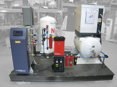 Nitrogen generator package with GD 7.5 HP air compressor