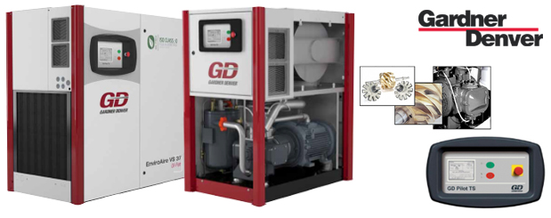Single stage oil-free variable speed rotary screw compressors 20 HP to 150 HP - EnviroAire VS from Gardner Denver distributed by Aircom Technologies, Montreal, Quebec