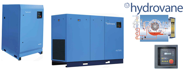 Rotary vane compressors 2 HP to 100 HP - Hydrovane distributed by Aircom Technologies, Montreal, Quebec