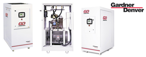 Lubricated rotary screw compressors 20 HP to 50 HP – Integra from Gardner Denver distributed by Aircom Technologies, Montreal, Quebec