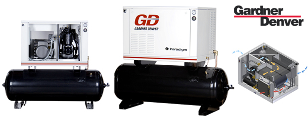 Piston compressors with noise enclosure 5 to 15 HP - Paradigm from Gardner Denver distributed by Aircom Technologies, Montreal, Quebec