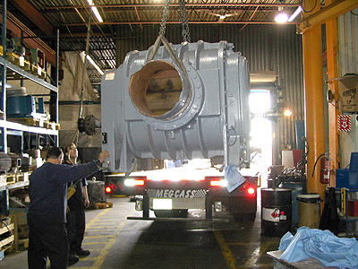 Large positive displacement blower ready for shipment after a complete overhaul