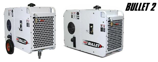 Compresseurs d'air à vis transportables avec moteur à essence - Bullet-2 distribué par Aircom Technologies, Montréal, Québec