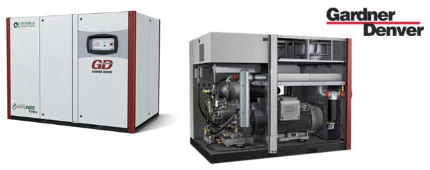 Compresseurs d'air à vis à vitesse variable double stages exempt huile - 100 HP à 215 HP – EnviroAire T/TVS de Gardner Denver distribué par Aircom Technologies, Montréal, Québec