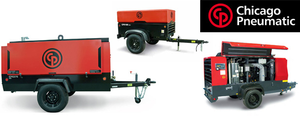 Portable gas engine driven screw compressors Chicago Pneumatic- 24 HP to 200 HP distributed by Aircom Technologies, Montreal, Quebec
