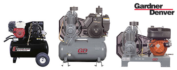 Portable gas engine driven piston compressors by Gardner Denver 15 HP to 335 HP are distributed by Aircom Technologies, Montreal, Quebec