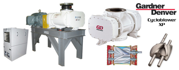 The positive displacement blowers - Cycloblower XP from Gardner Denver are sold by Aircom Technologies, Montreal, Quebec. Tel: 514-695-4740