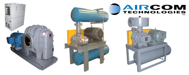 The Aircom positive displacement blower packages are conceived, assembled & sold by Aircom Technologies, Montreal, Quebec. Tel: 514-695-4740