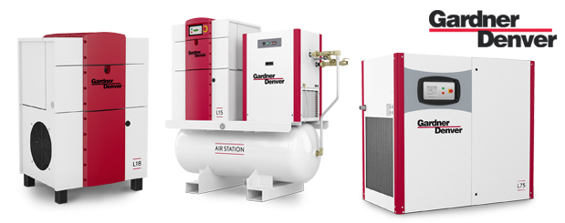 Lubricated rotary screw compressors 10 HP to 180 HP – L Series from Gardner Denver distributed by Aircom Technologies, Montreal, Quebec