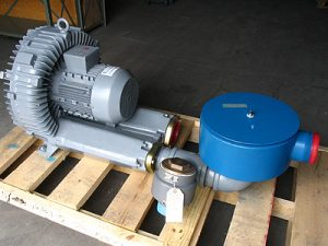 Regenerative blower package set up for vacuum conveying