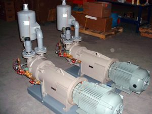 Liquid ring vacuum pump packages for a milk drying process