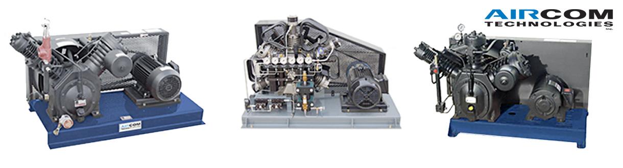 Aircom Technologies conçoit et distribue ses compresseurs d'air à pistons à haute pression de 300 à 7000 psi - 15 HP à 20 HP - pour l'est du Canada. / Aircom Technologies of Montreal, Quebec, designs, manufactures & distributes these high pressure applications piston compressors - 300 dpi to 7000 dpi