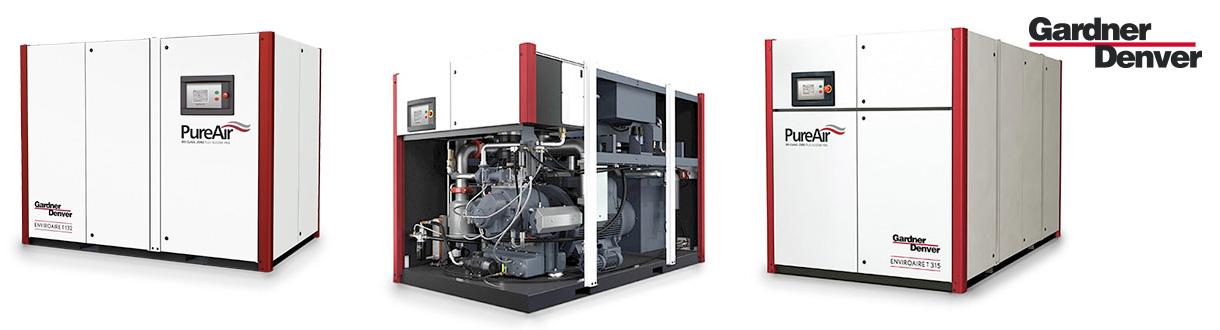 Aircom, le distributeur exclusif des compresseurs à vis à double stages à vitesse variable-exempt huile-100 à 400 HP-EnviroAire T–de GD pour l'est du Canada.