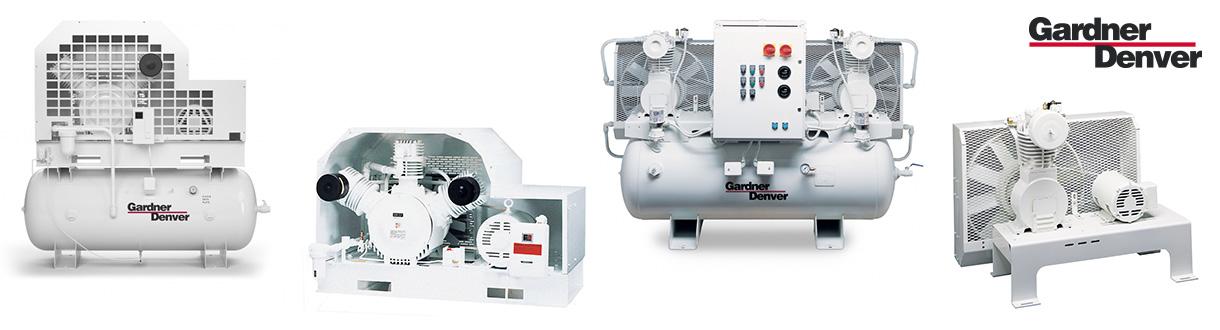 Aircom, distributeur autorisé et centre de service des compresseurs d'air à pistons exempt d'huile – Série V & W (PureAir) - 5 HP à 15 HP de Gardner Denver pour l'est du Canada.