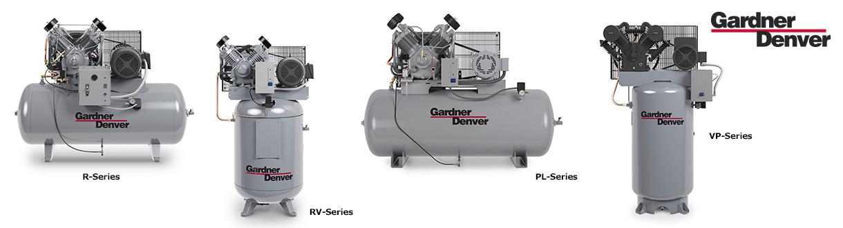Aircom Technologies est le distributeur autorisé et centre de service des compresseurs d'air à pistons de 2 HP à 30 HP - Séries R / RV / PL / VP de Gardner Denver.