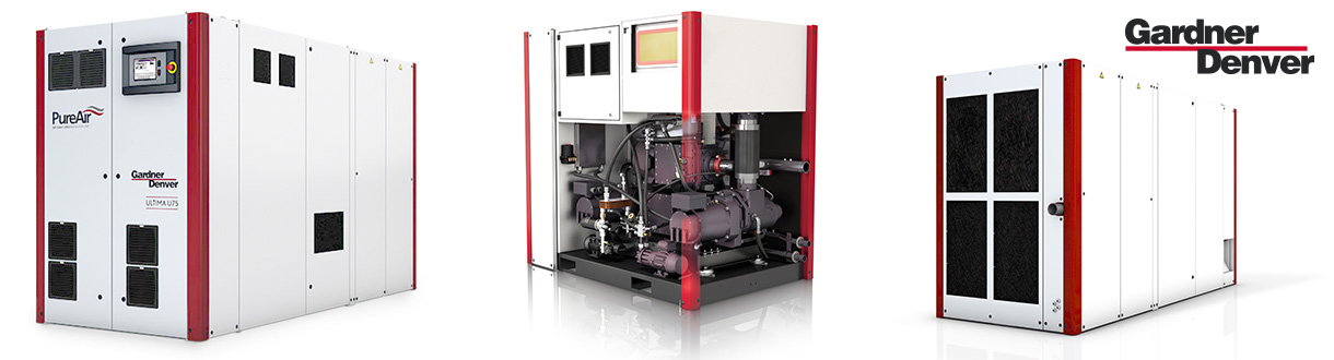 Aircom, distributeur autorisé des compresseurs d'air à vis à vitesse variable double stage - exempt d'huile - 100 HP to 200 HP - Ultima de Gardner Denver. / Aircom Technologies, is an authorized distributor & service center of the Ultima oil-free variable speed rotary screw air compressors - 100 HP to 200 HP from GD