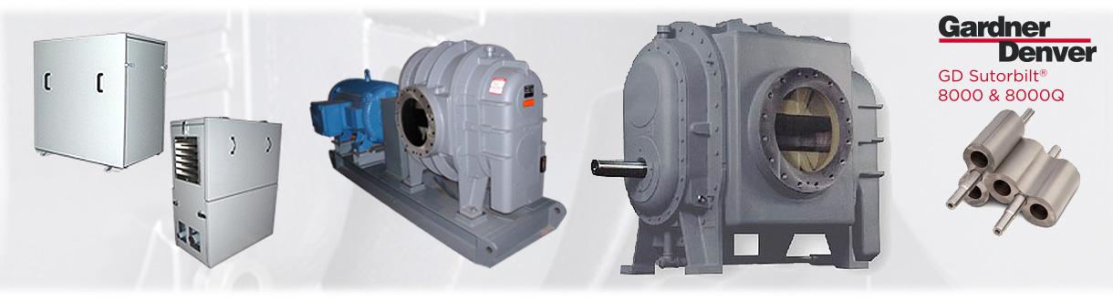 Surpresseurs à déplacement positif – Sutorbilt 8000 et 8000Q / Aircom Technologies, is an authorized distributor & service center for Sutorbilt 8000 & 8000Q Positive displacement blowers (bi-lobe) for Eastern Canada.