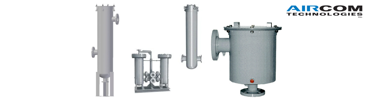 Séparateurs de liquide / These separators are designed to separate liquids and/or particles from air or a gas upstream of a vacuum pump, blower, fan or compressor.