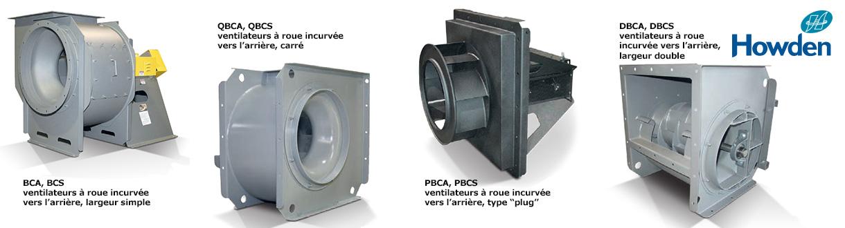 Aircom Technologies de Montréal, Québec, est distributeur autorisé et centre de service des ventilateurs à roue incurvée vers l'arrière Howden (American Fan Company)
